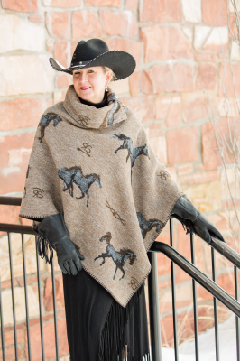 #208HBT - TAN HORSE BRANDS BUTTON COLLAR PONCHO - SOLD OUT!