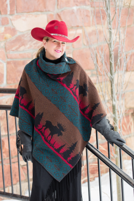 #208ML - MOOSE ON THE LOOSE BUTTON COLLAR PONCHO - $119.95