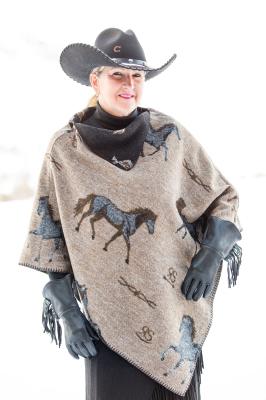 #228HBT - TAN HORSE BRAND KERCHIEF PONCHO O/S - $99.95