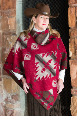 #228RB - RED BUTTON KERCHIEF PONCHO O/S - $99.95