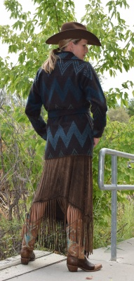 #865WTB - TURQ/BROWN WIGWAM WRAP COAT - BACK