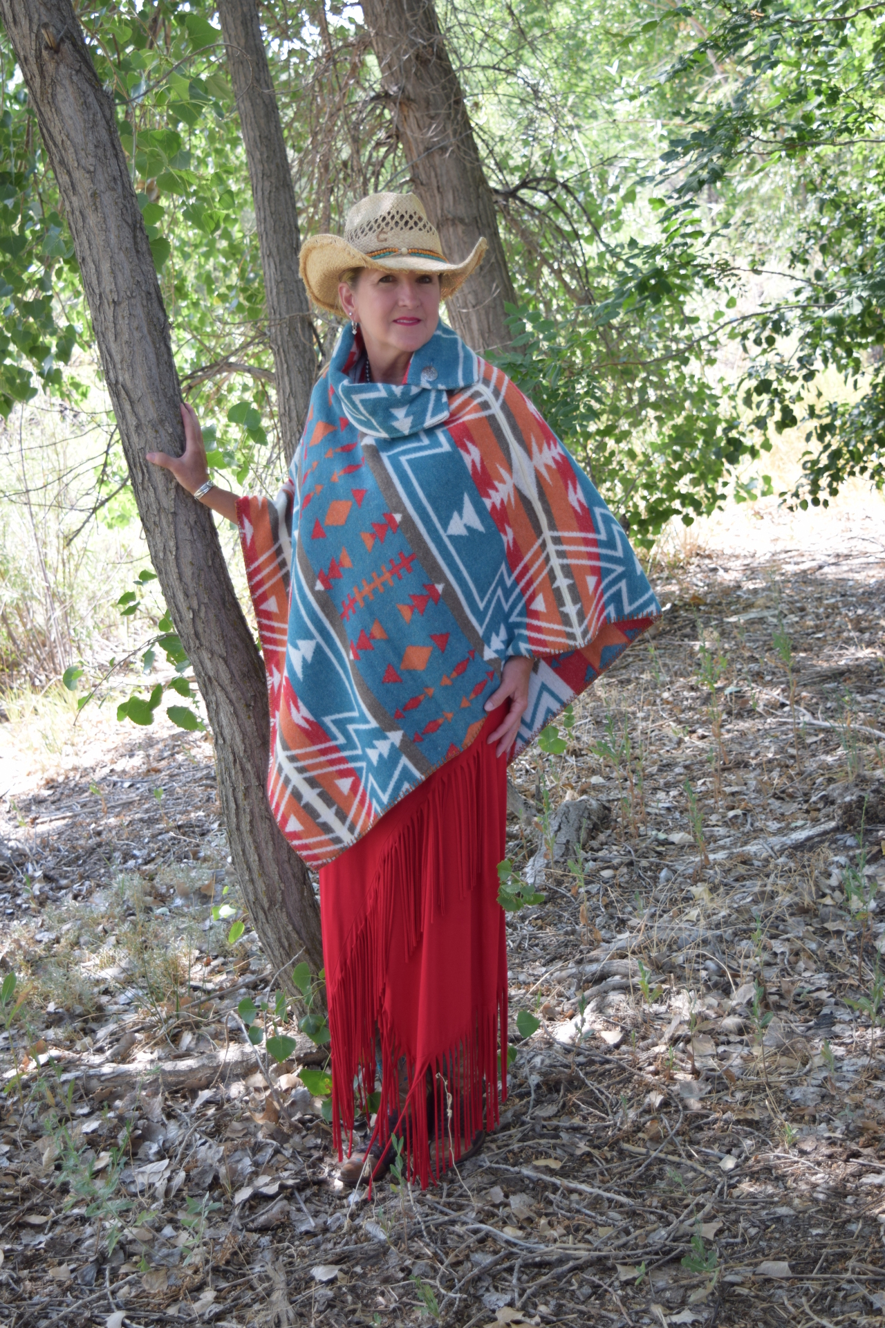 #208ZTL - TEAL ZUNI BUTTON COLLAR PONCHO - O/S - $119.95