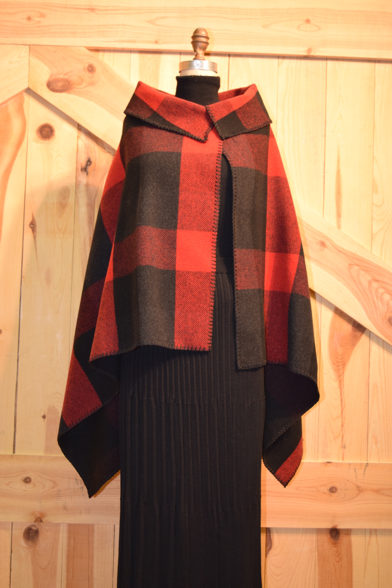 105BPR - RED BUFFALO PLAID ASYMETRICAL CAPE - O/S $119.95 - SALE $79.95