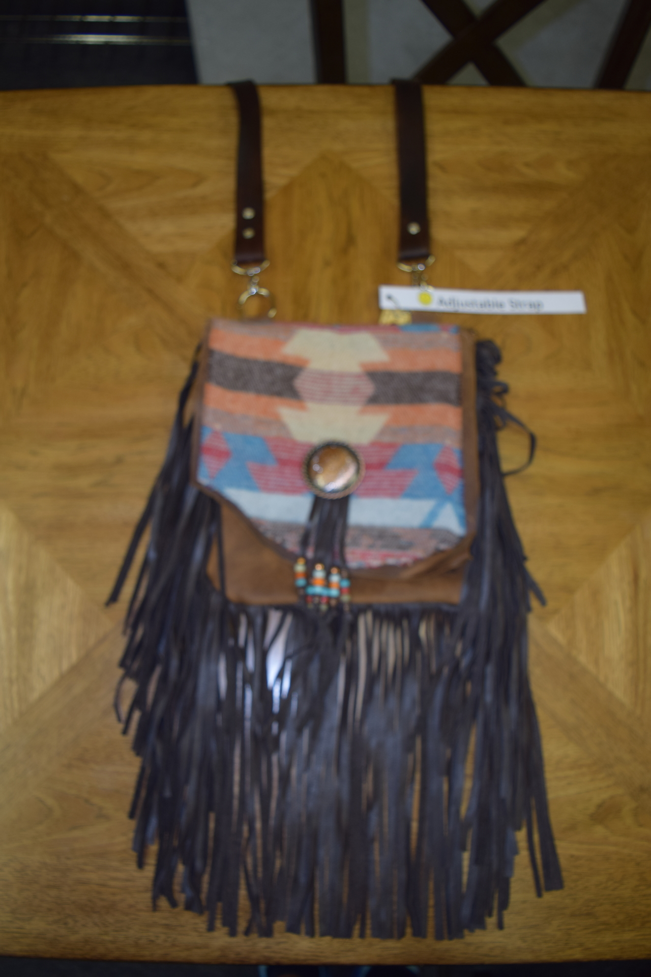 SANTA FE LEATHER FRINGE CROSS BODY BAG - $220.00