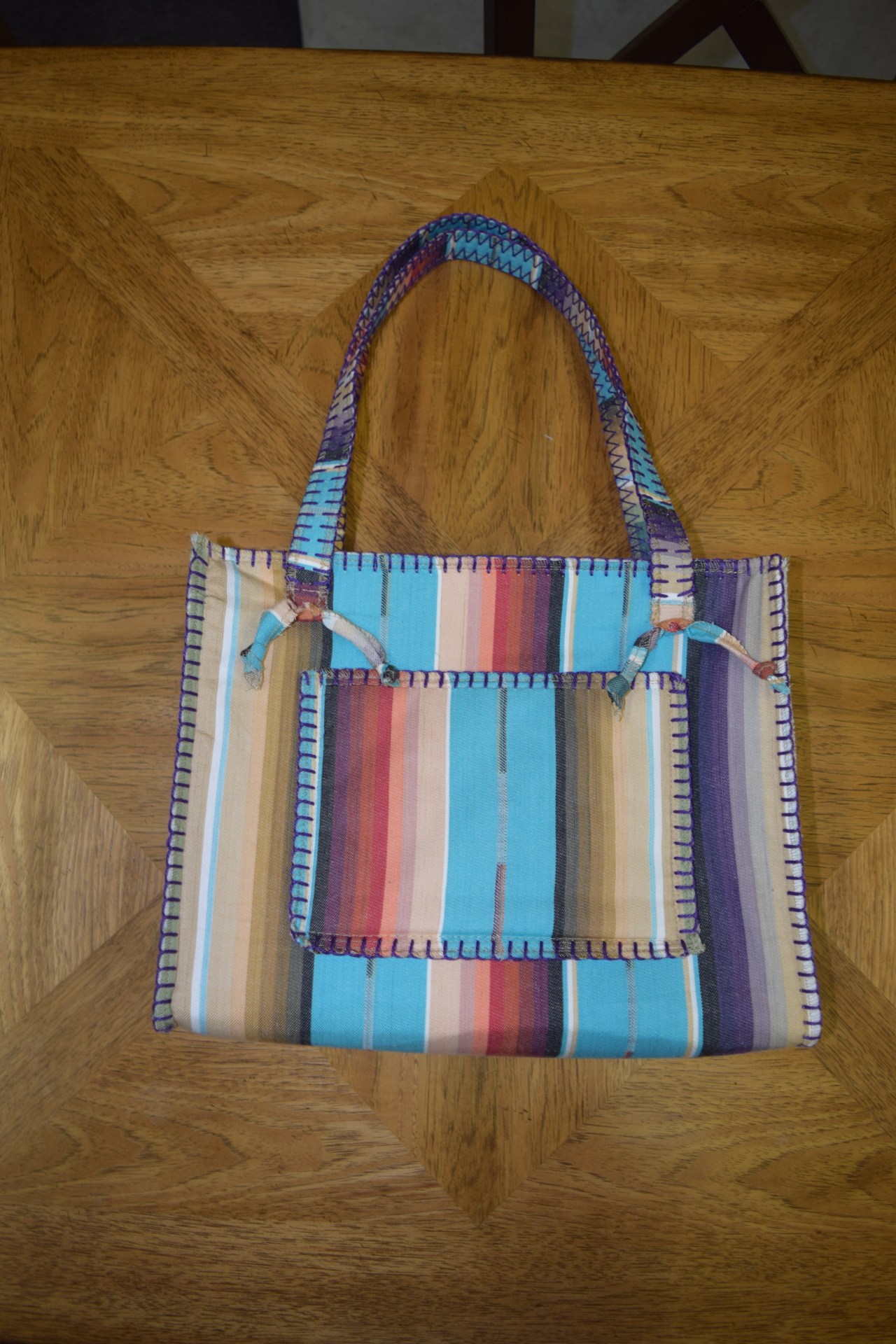 #B10TS - TURQ. COTTON SERAPE ZIP POCKET BAG - $99.95