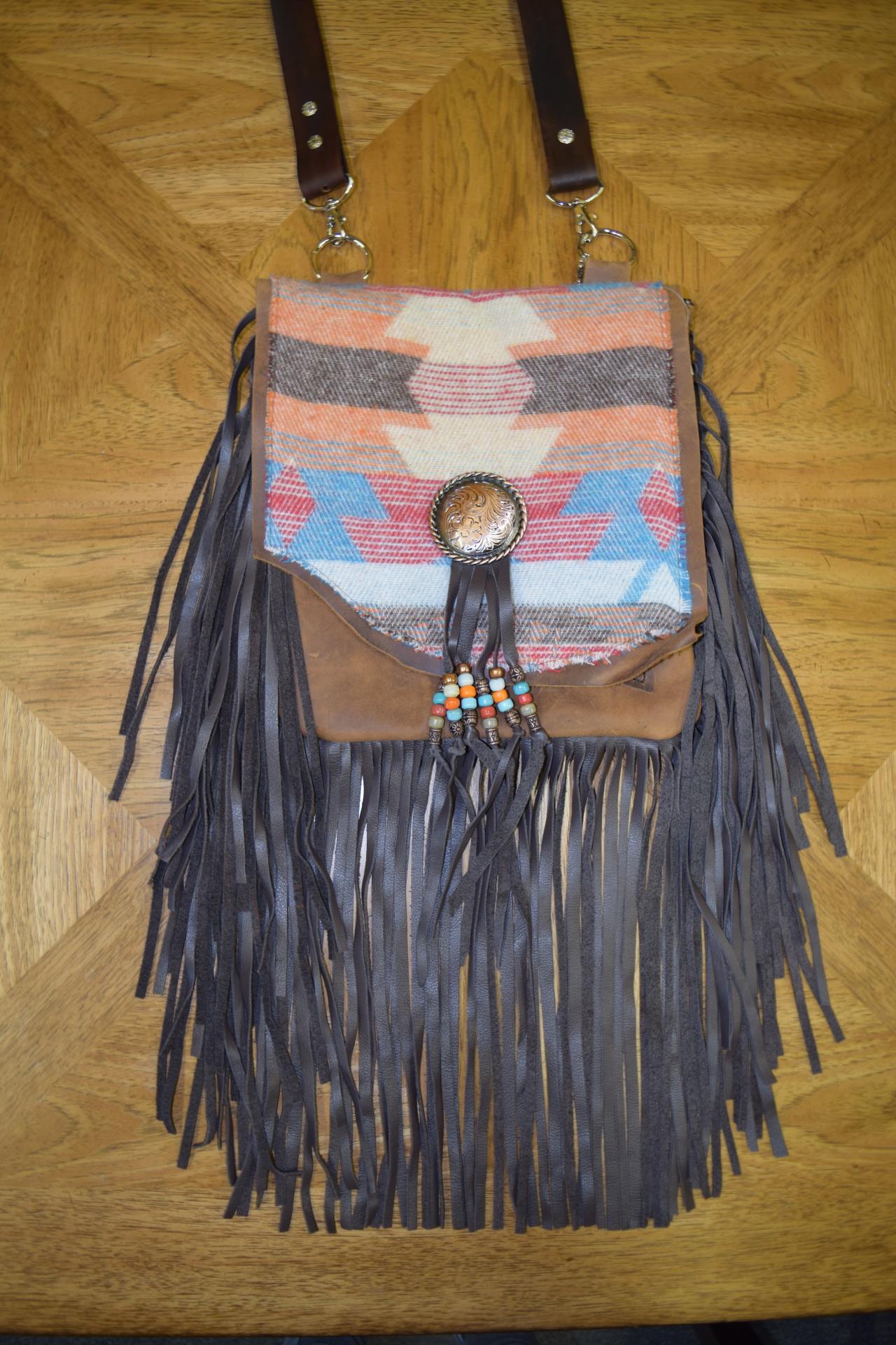 LEATHER SANTA FE FRINGE BAG - $220.00