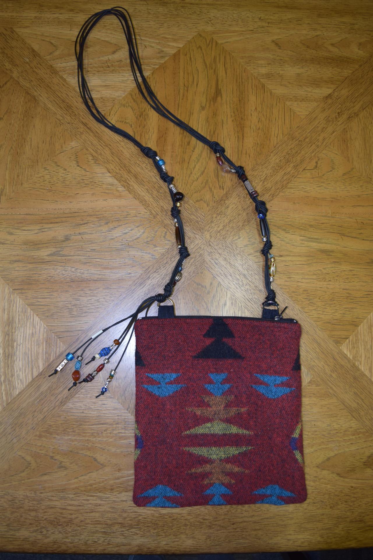 #B05ZR - RED ZUNI BEADED STRAP ZIP BAG - $129.95