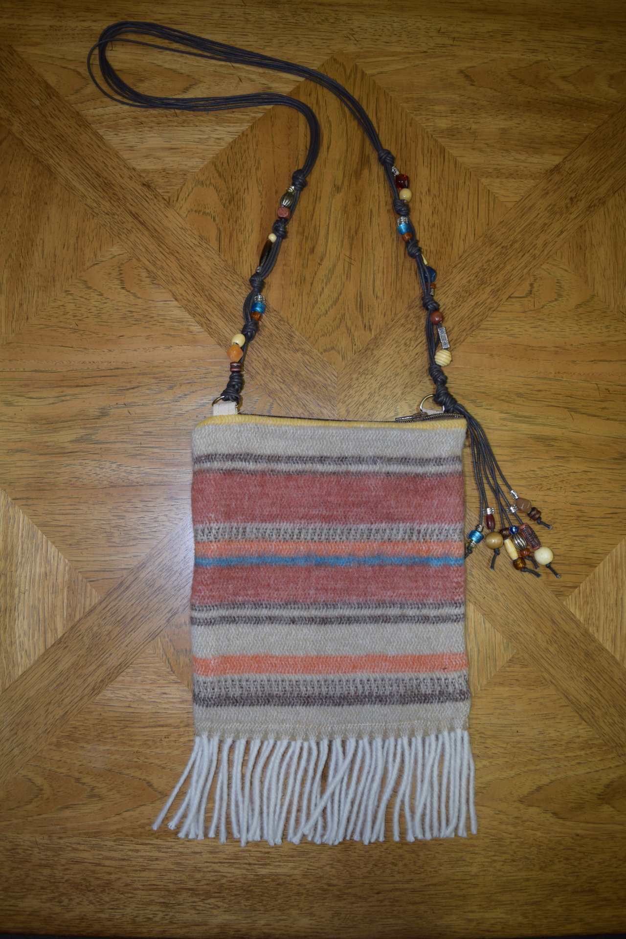 #B05 ARAPAHOE FRINGE BEADED STRAP ZIP BAG - $129.95