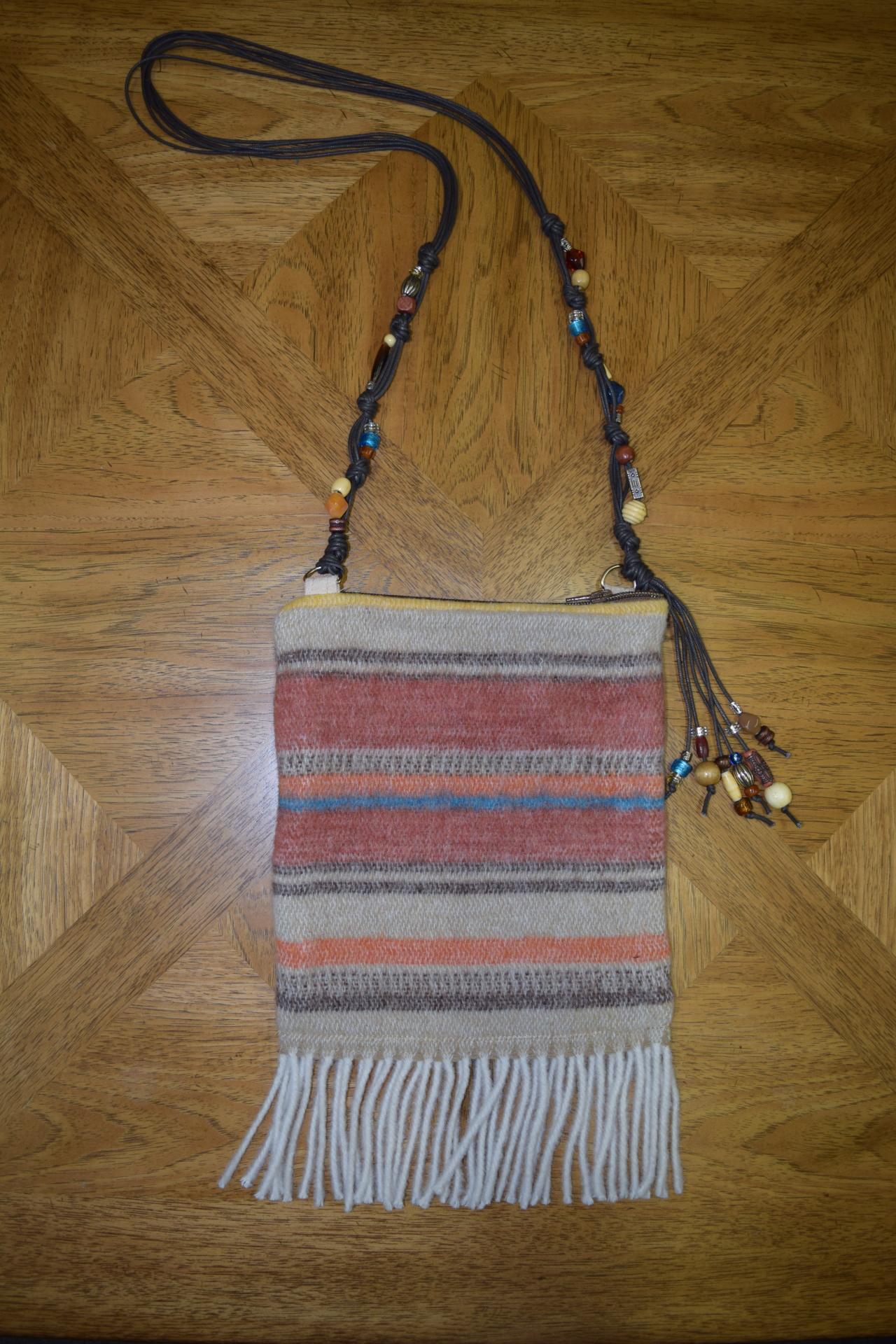 #B05 ARAPAHOE FRINGE BEADED STRAP ZIP BAG - $129.95