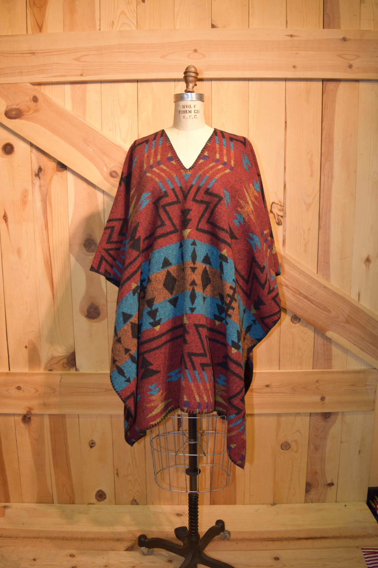 "#234ZR - RED ZUNI 34"" SLIT NECK UNISEX PONCHO - O/S - $119.95"