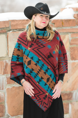 #208ZR - RED ZUNI BUTTON COLLAR PONCHO - O/S -- $119.95