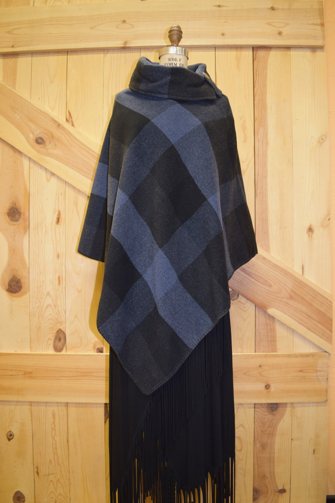 "#208BPB - BLUE BUFFALO PLAID BUTTON COLLAR 30"" PONCHO - O/S - $119.95 - SALE - $59.95"
