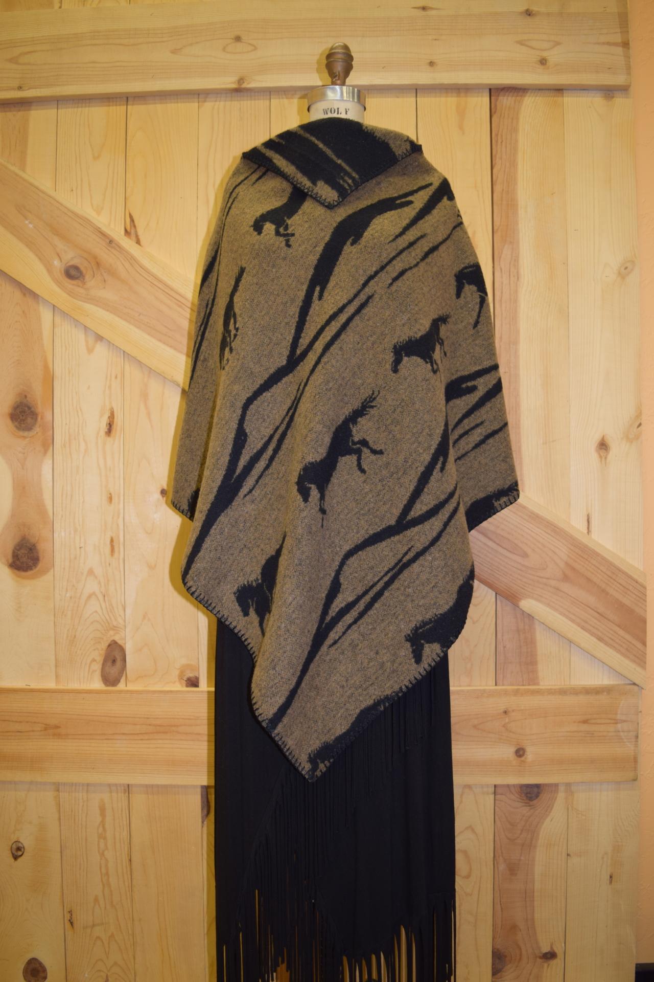 #228MU2 - T/BLK MUSTANG KERCHIEF PONCHO - O/S -- $99.95