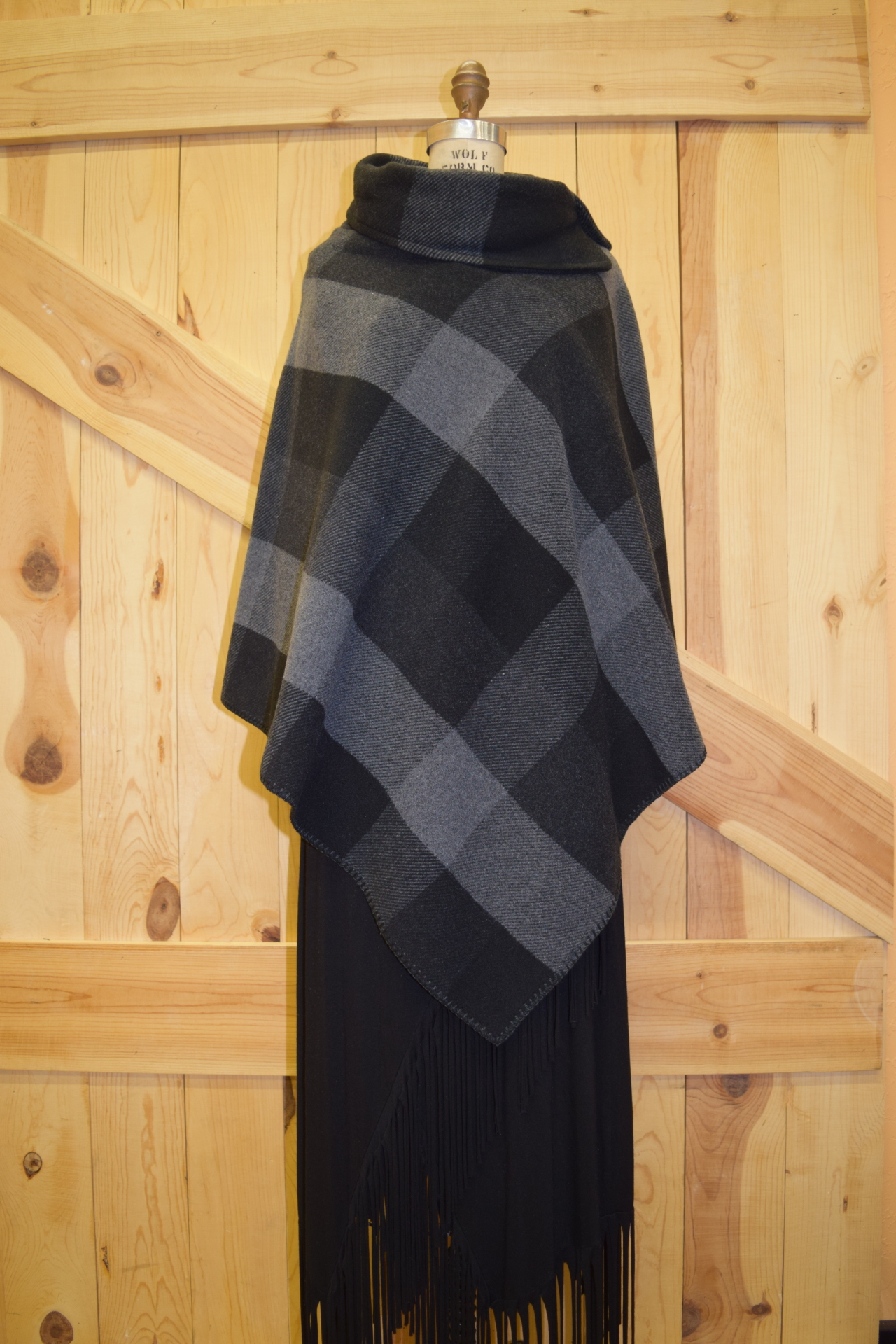"#208BPG - GREY BUFFALO PLAID BUTTON COLLAR 30"" PONCHO - O/X - $119.95 - SALE - $59.95"