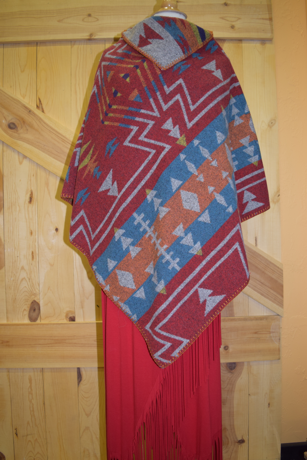 #228ZBT - BRIGHT ZUNI KERCHIEF PONCHO - $99.95 -- SALE $49.95