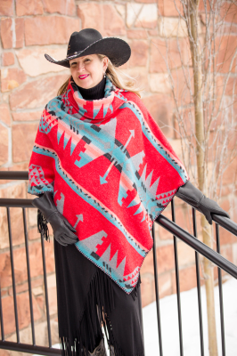 #208YM - YUMA BUTTON COLLAR PONCHO - O/S -- $119.95