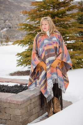 "#100DSF - DESERT SUNSET FRINGE CAPE - O/S (60"" wide) -- $119.95"