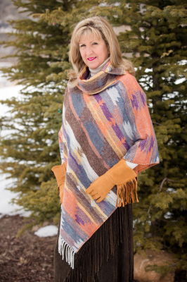 #208DSF - DESERT SUNSET FRINGE BUTTON COLLAR PONCHO - O/S -- $119.95