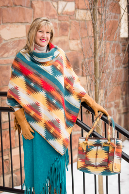 #208SD - SUNNY DAZE BUTTON COLLAR PONCHO - O/S -- $119.95  &  #B10 ZIP POCKET BAG - $99.95