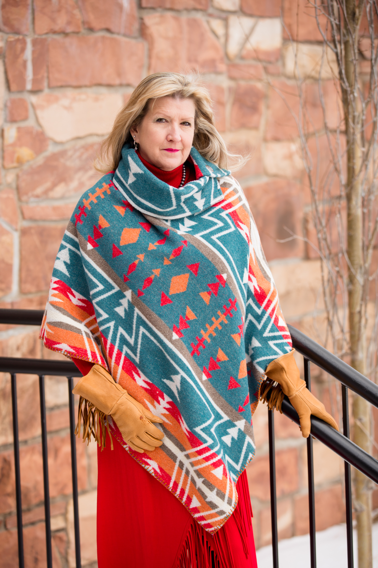 #208ZTL - TEAL ZUNI BUTTON COLLAR PONCHO - O/S -- $119.95