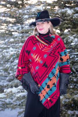 #228ZR - RED ZUNI KERCHIEF COLLAR PONCHO - O/S -- $99.95