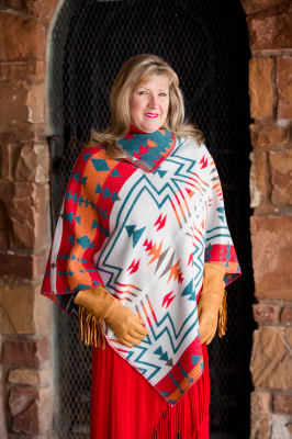 #228ZW - WHITE ZUNI KERCHIEF PONCHO - O/S -- SOLD OUT!