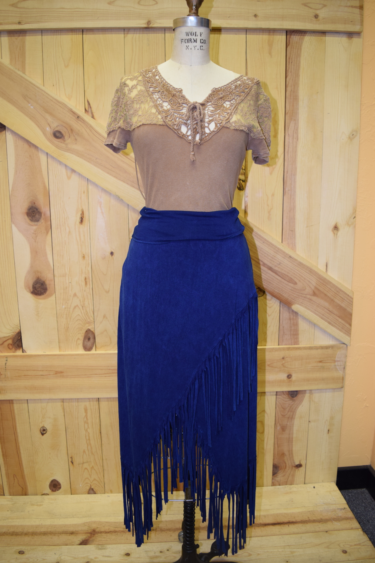 #580DN - DENIM FRINGE KNIT SKIRT - S-XL -- $79.95