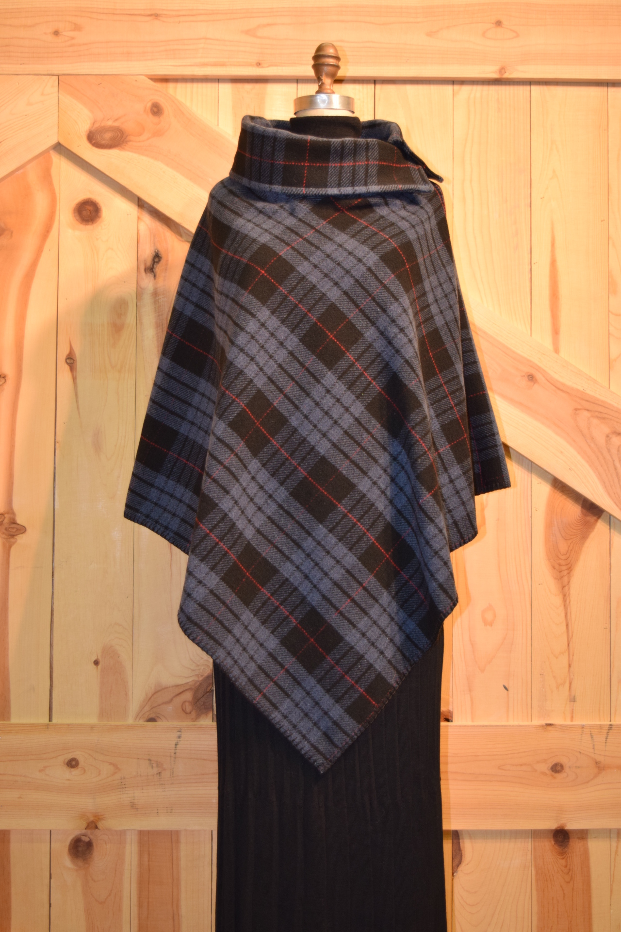 #208TPB - BLUE TARTAN PLAID BUTTON COLLAR PONCHO - $119.95 -- SALE $59.95