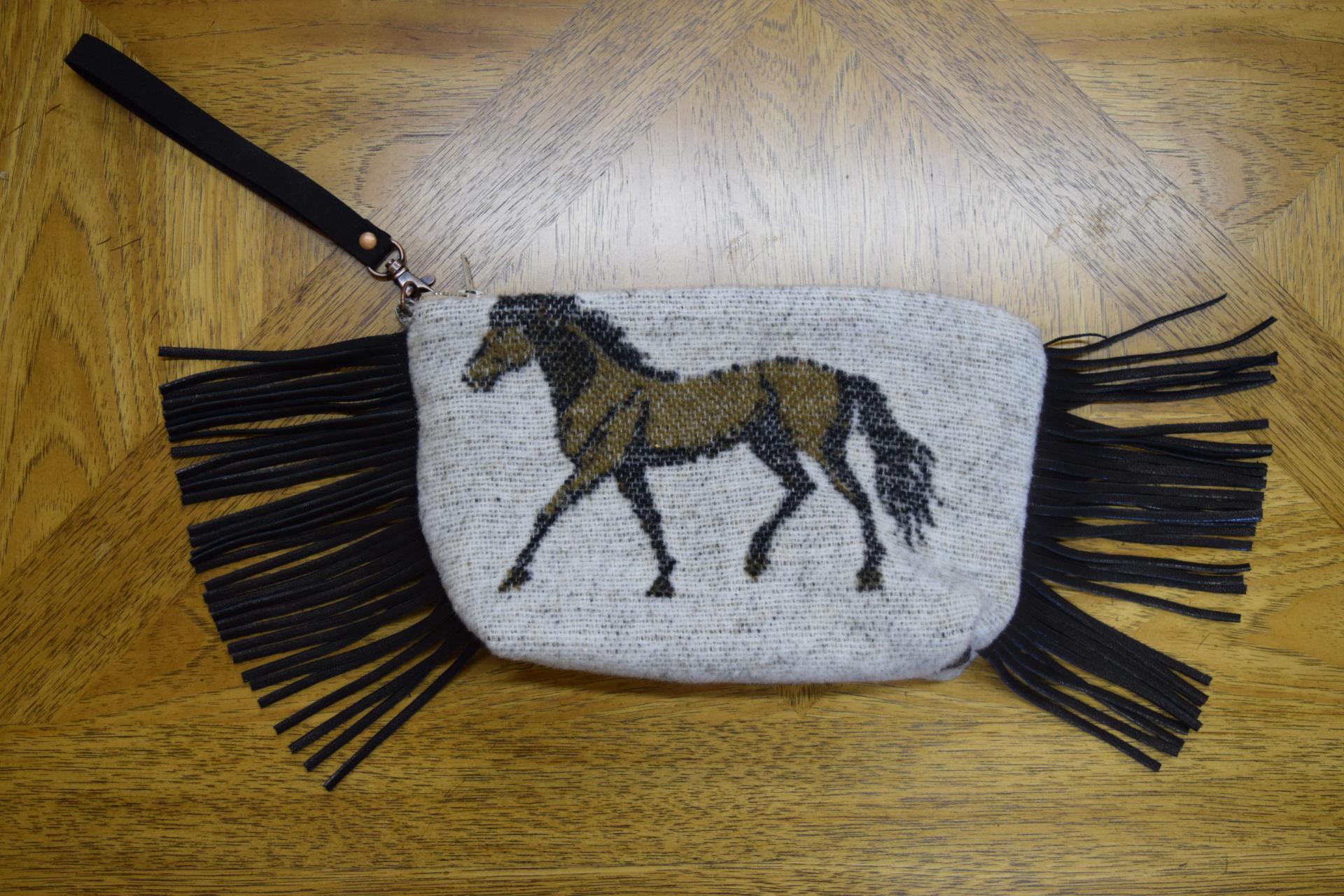 #B08HBO - OATMEAL HORSE BRANDS WRISTLET/CLUTCH - $89.95