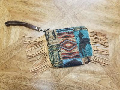 #B08F-WWA -- AQUA WILD WEST FRINGE WRISTLET CLUTCH BAG -- $99.95