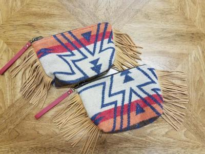 #B08F-ZS -- SAHARA ZUNI FRINGE WRISTLET CLUTCH BAG - $89.95