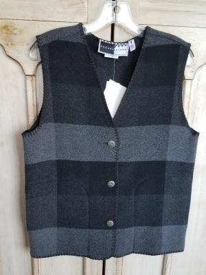 #129BPG - GREY BUFFALO PLAID V-VEST -- WAS $84.95 - SALE $42.47 -- SMALL & MEDIUM 0 ONLY!