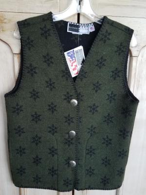#129SNG - GREEN SNOWFLAKE V-VEST -- WAS $84.95 - SALE $42.47 - ALL SIZES AVAILABLE!