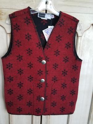 #129SNR - RED SNOWFLAKE V-VEST -- WAS $84.95 - SALE $42.47 - ALL SIZES AVAILABLE!