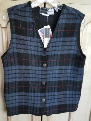 #129TPB - BLUE TARTAN PLAID V-VEST -- WAS $84.95 -- SALE $42.47 -- ALL SIZES AVAILABLE!!