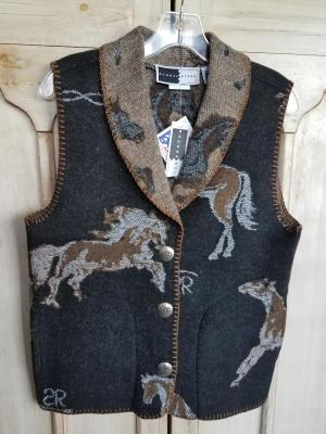 #130ASST-HBB - BLACK BIG HORSE BRANDS SHAWL COLLAR VEST - WAS $99.95 -- SALE $49.98 - SMALL ONLY!