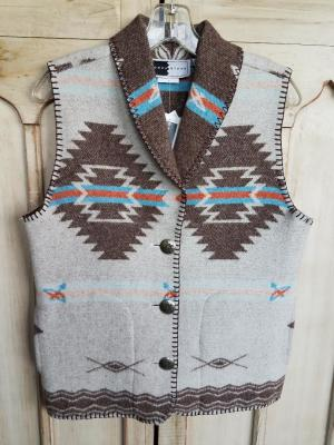#130ASST-PW - PALE WHITE POCAHONTAS SHAWL COLLAR VEST - WAS $99.95 -- SALE $49.98 -- SMALL ONLY!