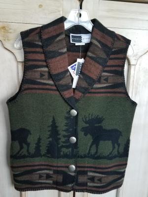#130MCG - GREEN MOOSE CROSSING SHAWL COLLAR VEST - WAS $99.95 -- SALE $49.98 -- SMALL ONLY!