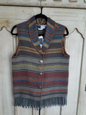 #131ADF - ADOBE FRINGE SHAWL COLLAR VEST - WAS $84.95 - SALE $42.48 -- SMALL ONLY