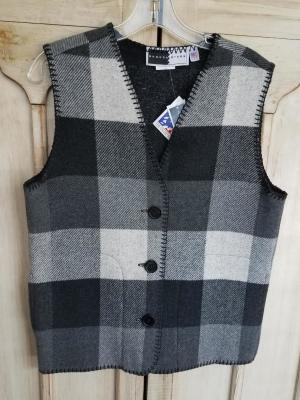 #129BPW - WHITE BUFFALO PLAID V-VEST -- WAS $84.95 -- SALE $42.48 -- SIZES:  S-M-L-XL