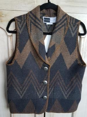 #135WT - TOFFEE WIGWAM SHORTER SHAWL COLLAR VEST - WAS $89.95 -- SALE $44.98 -- S & M ONLY!