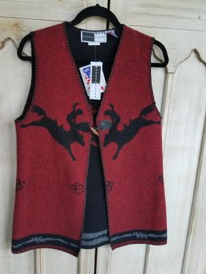 #126RRR - RED RODEO A-LINE TOGGLE VEST - WAS $99.95 -- SALE $44.98 -- SMALL ONLY!