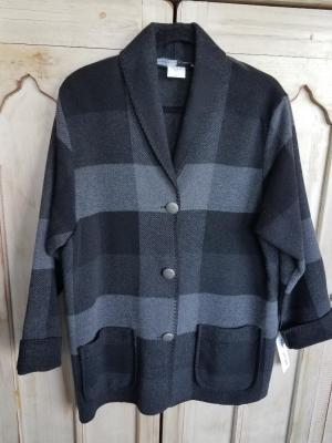#875BPG - GRAY BUFFALO PLAID CAR COAT - $179.95 -- OUTLET SALE $50! -- SMALL ONLY!