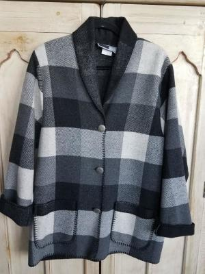 #875BPW - WHITE BUFFALO PLAID CAR COAT - $179.95 - OUTLET SALE $50! -- SMALL ONLY!