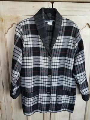 #875TPW - WHITE TARTAN PLAID CAR COAT - $179.95 -- OUTLET SALE $50!  SMALL ONLY!