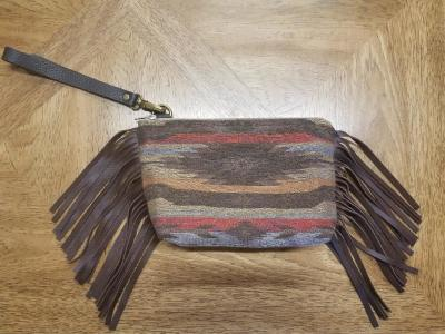 #B88F-ES - ESCALANTE LEATHER FRINGE WRISTLET CLUTCH - $129.95