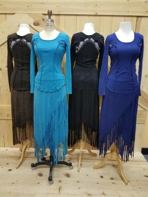 #388 Long Sleeve Lace inset top - S-XL -$79.95.  Brown, turquoise, black & denim blue.  #580 skirts S-XL $79.95