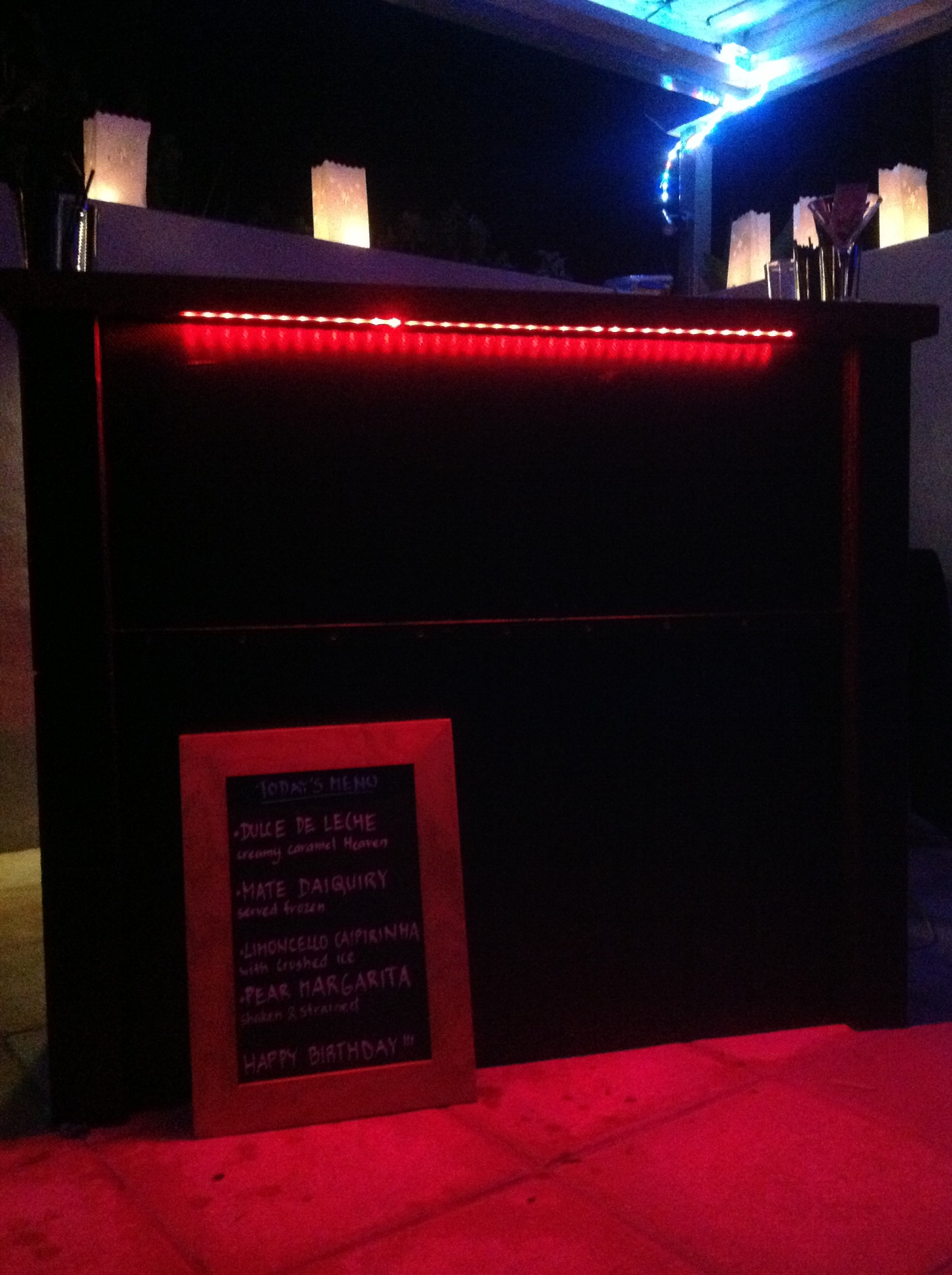 LED lighting on our Mobile Cocktail Bar