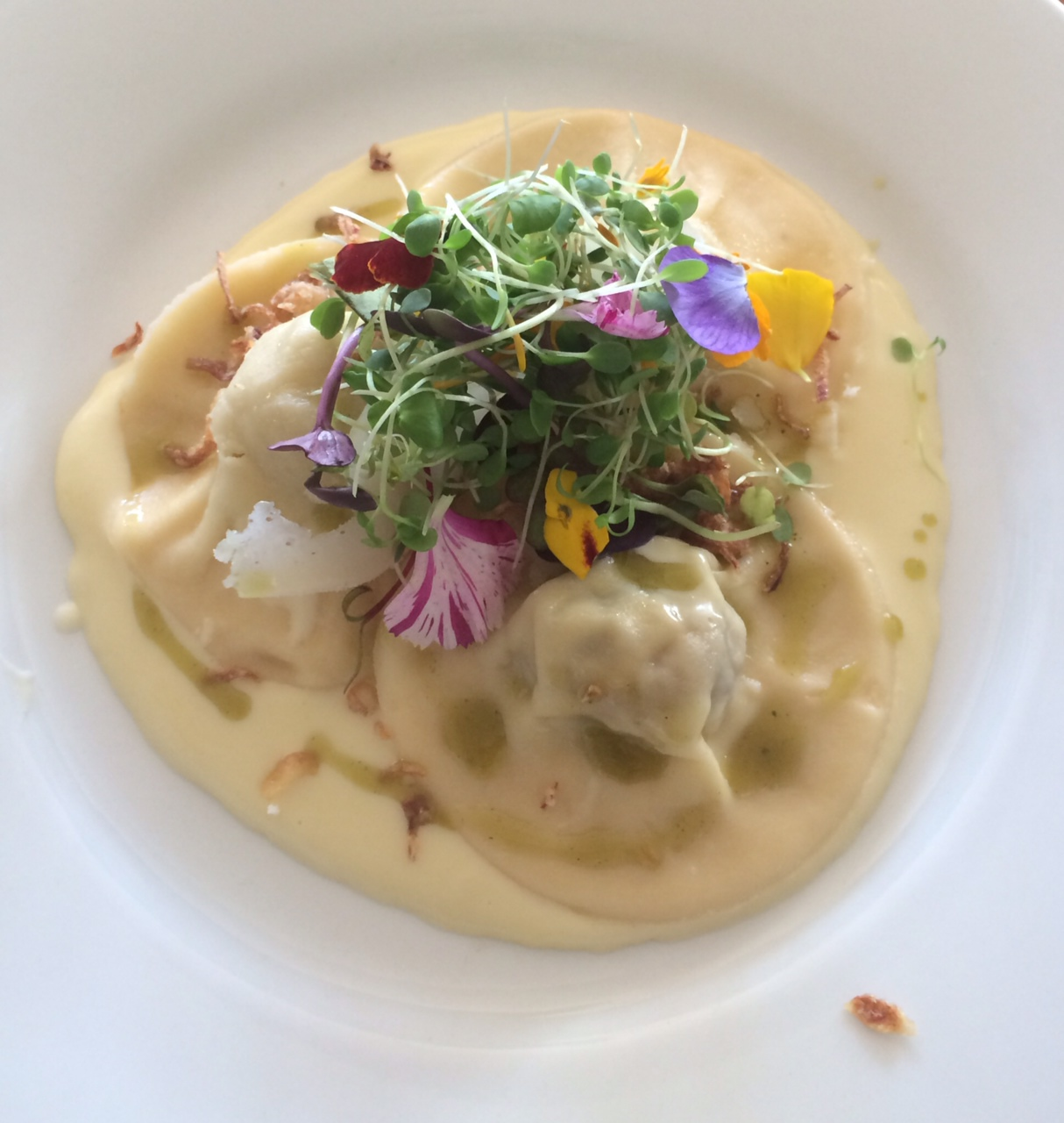 Handmade tortellini with porcini mushrooms, pork and sage
