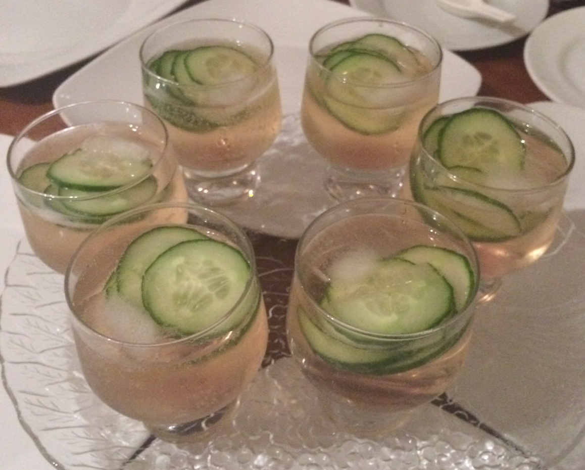Hendrix with rose and cucumber,topped with champagne